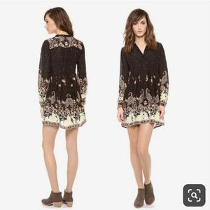 Free People black floral mini shirt dress